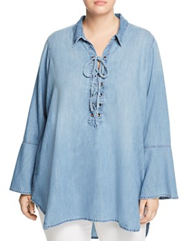 Seven7 Jeans Plus - Lace-Up Chambray Tunic