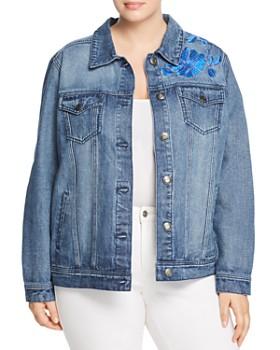 Seven7 Jeans Plus - Floral-Embroidered Denim Jacket