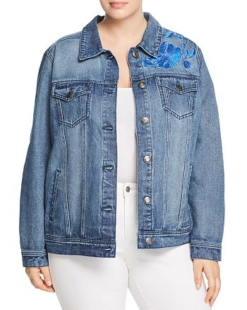 0126f588a1 Seven7 Jeans Plus - Floral-Embroidered Denim Jacket