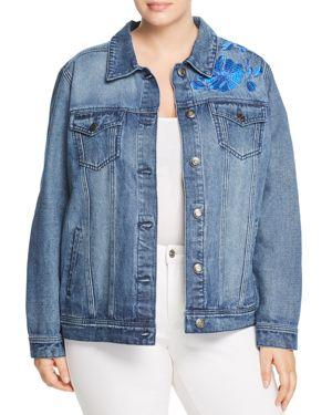 Seven7 Jeans Plus Floral-Embroidered Denim Jacket
