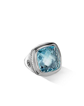 David Yurman - Albion Statement Ring with Blue Topaz & Sterling Silver