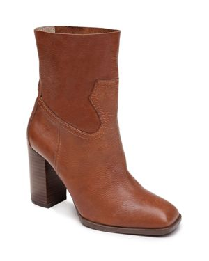 SPLENDID Women'S Nero Leather Block Heel Booties in Brown