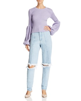 Ksenia Schnaider - Cutout Straight Jeans in Light Blue