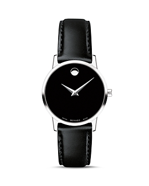 Movado Museum Classic Black Leather Strap Watch, 28mm-Jewelry & Accessories