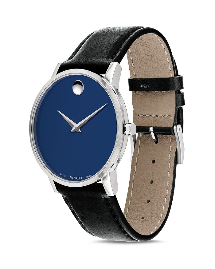 Museum Classic Blue Dial Leather Strap Watch 40mm