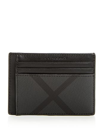 san francisco e3755 33ac9 Burberry Chase Smoke Check Money Clip Card Case | Bloomingdale's