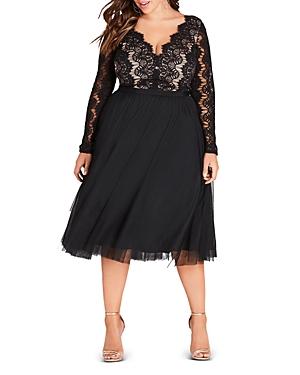 City Chic Plus Lace-Bodice Dress