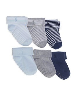 Ralph Lauren - Boys' Grip Detail Striped Icon Socks, Set of 6 - Baby