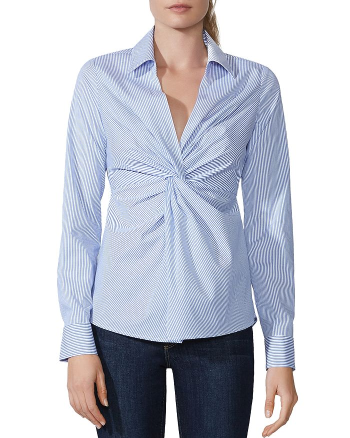 Bailey 44 - Tallula Twist-Front Striped Shirt