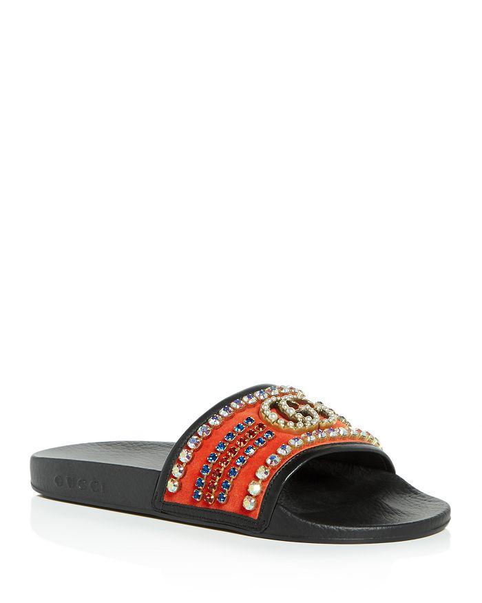 dd95401592b Gucci - Women s Pursuit Embellished Velvet Slide Sandals