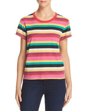 Pam & Gela Rainbow-Stripe Crewneck Tee
