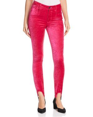 Paige Hoxton Velvet Skinny Stirrup Jeans in Cherries Jubilee
