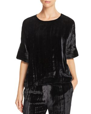 Daisy Short-Sleeve Velvet Blouse, Black