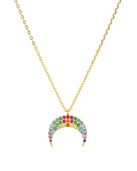 """AQUA - Multicolor Crescent Moon Pendant Necklace in 18K Gold Tone-Plated Sterling Silver, 14"""" - 100% Exclusive"""