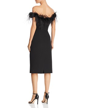 MILLY - Elle Feather-Trimmed Off-the-Shoulder Dress
