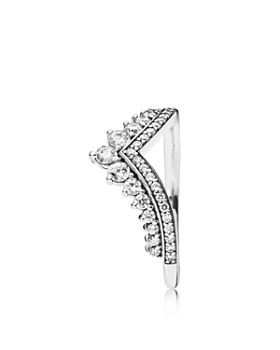 PANDORA - Princess Wish Sterling Silver & Cubic Zirconia Curved Ring