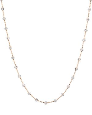 OFFICINA BERNARDI Moon Bead Chain Necklace, 16 in Rose Gold