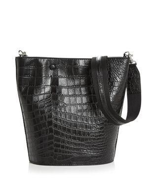 STEVEN ALAN Rhys Medium Croc-Embossed Leather Hobo in Black/Silver