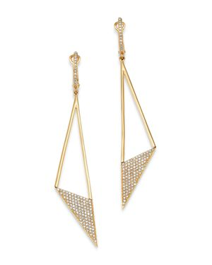 KC DESIGNS 14K Yellow Gold Modern Triangle Diamond Drop Earrings in White/Gold