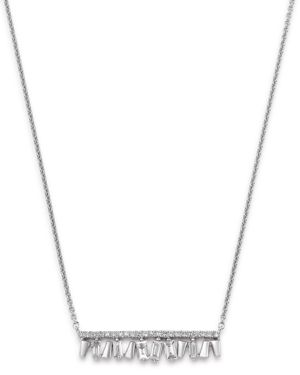 KC DESIGNS 14K White Gold Mosaic Diamond Bar Necklace, 18