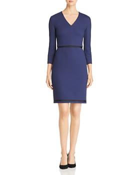 BOSS - Hemio Textured V-Neck Dress