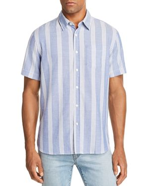 JACHS NY Wide-Stripe Regular Fit Button-Down Shirt in Blue/White