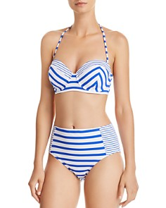 Tommy Bahama - Beachglass Stripe Strapless Underwire Bikini Top & Beachglass Stripe High Waist Bikini Bottom