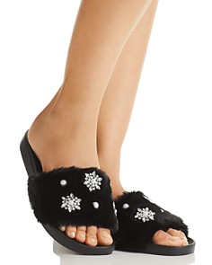 PJ Salvage - Luxe Affair Rhinestone Faux Fur Slippers