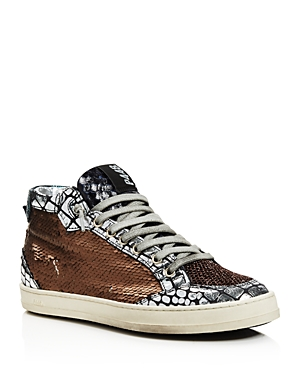 P448 WOMEN'S LOVEBS PAILETTES LACE-UP HIGH TOP SNEAKERS