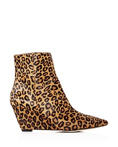 Donald Pliner - Women's Jae Leopard Print Calf Hair Wedge Booties