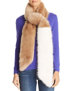 Heurueh - Color-Block Faux Fur Skinny Scarf