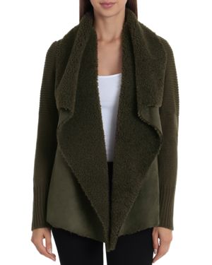BAGATELLE Draped Faux-Shearling Sweater Jacket in Olive