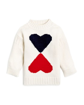 Burberry - Girls' Double Heart Intarsia Sweater - Little Kid, Big Kid