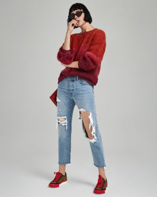 Shimmer-Trim Ombré Sweater