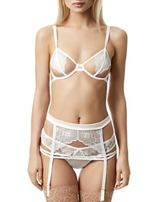 Bluebella - Emerson Underwire Open Bra, Lace Thong & Suspender Belt