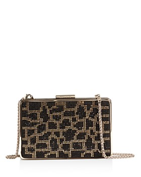 KAREN MILLEN - Small Crystal Leopard Print Box Clutch