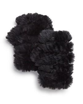 Jocelyn - Knit & Rabbit Fur Fingerless Gloves