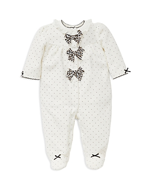 Little Me Girls Dotted Velour Footie with LeopardPrint Bows  Baby