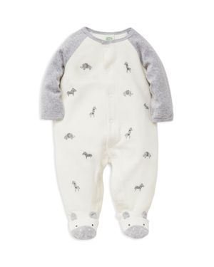 Little Me Boys' Embroidered Safari Animals Velour Footie - Baby