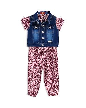 7 For All Mankind Girls Denim Vest  Floral Romper Set  Baby