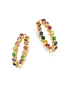 SheBee - 14K Yellow Gold Sapphire, Blue Topaz, Amethyst & Tsavorite Rainbow Hoop Earrings