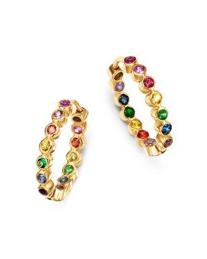 SHEBEE Shebee 14K Yellow Gold Sapphire, Blue Topaz, Amethyst & Tsavorite Rainbow Hoop Earrings in Multi/Gold