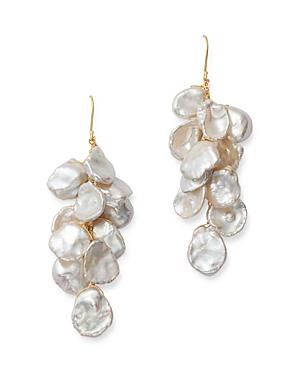 Bloomingdale's Cultured Freshwater Keshi Pearl Cluster Drop Earrings in 14K Yellow Gold - 100% Exclu