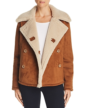 Mother Trenchcoats THE SHRUNKEN FAUX SHEARLING PEACOAT