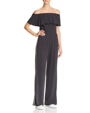 VINTAGE HAVANA Off-The-Shoulder Metallic-Trim Jumpsuit in Charcoal