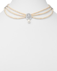 """Bloomingdale's - Diamond & Cultured Freshwater Pearl Bib Necklace in 14K White Gold, 17"""" - 100% Exclusive"""
