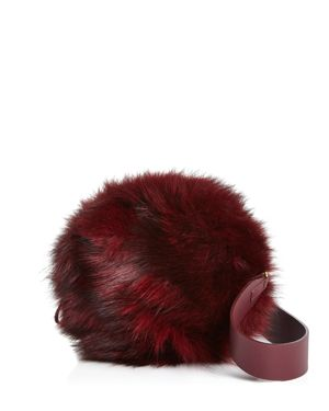 ARRON Aaron Small Leather & Fur Circle Shoulder Bag in Bordeaux Red/Gold