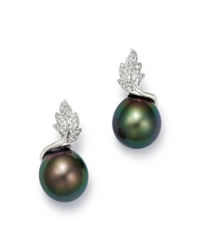 Tara Pearls - 14K White Gold Leaf Diamond & Tahitian Cultured Pearl Drop Earrings
