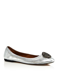 Tory Burch - Women's Liana Round Toe Rhinestone Logo Leather Ballet Flats