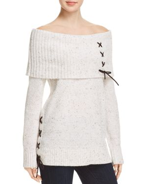 Marilyn Lace Detail Cold-Shoulder Top, Winter White Multi